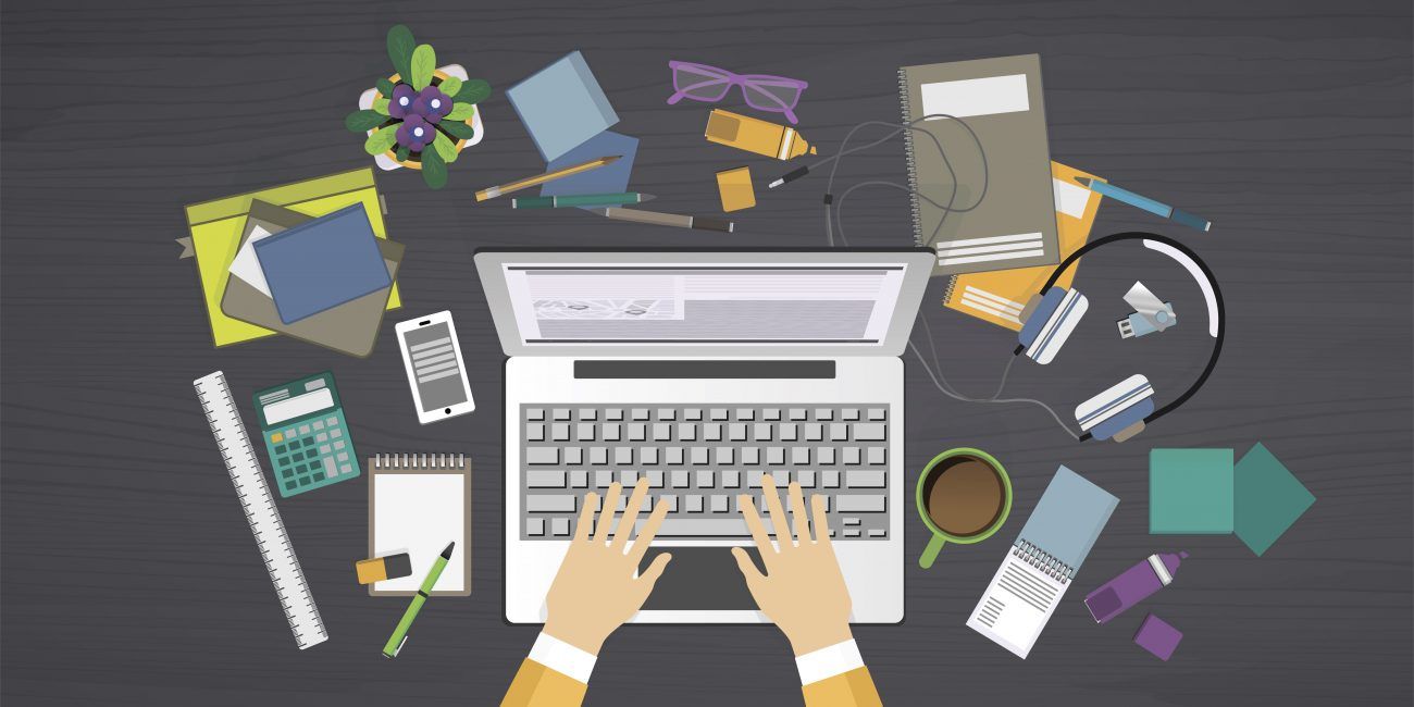 Modern flat design vector illustration, concept of internet learning on workplace, for graphic and web design